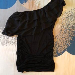 Ruffled one shoulder blouse